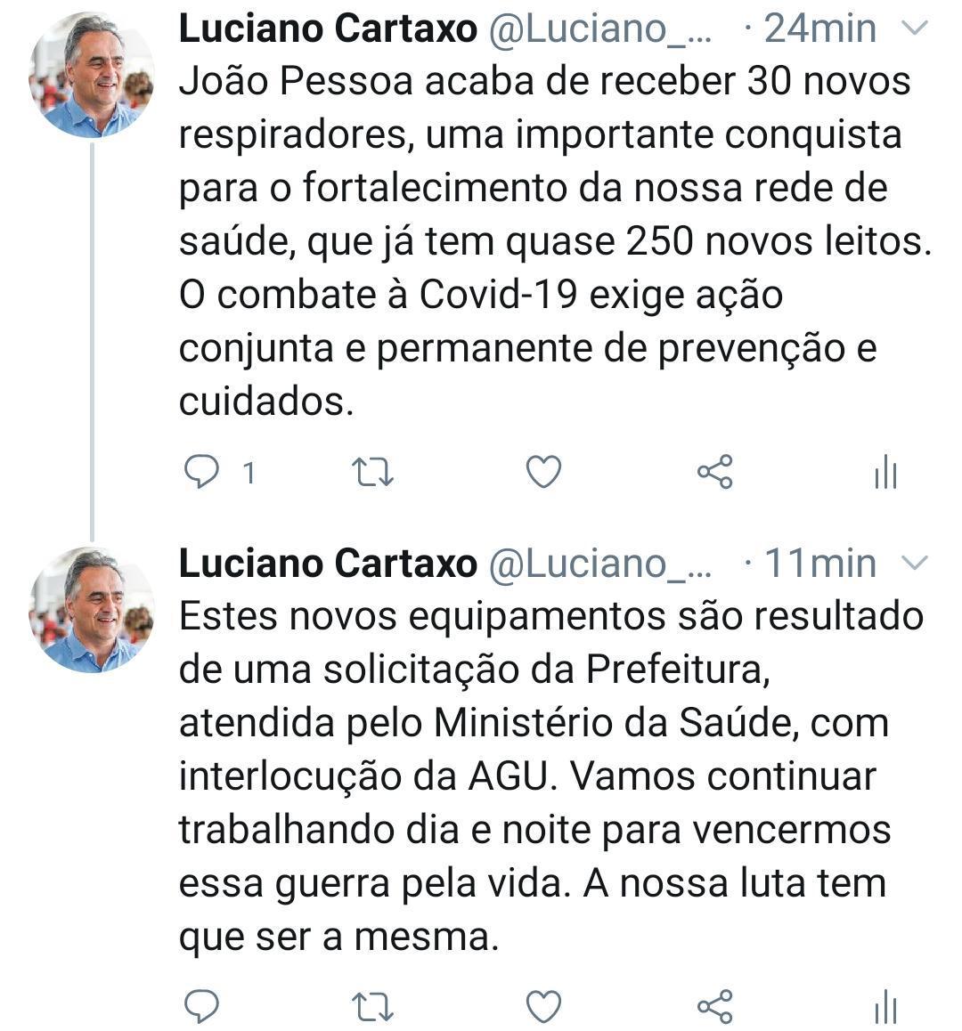 IMG 20200602 WA0020 - NAS REDES SOCIAIS: Luciano Cartaxo anuncia chegada de 30 novos respiradores e 3º maior isolamento social em João Pessoa entre as capitais do País
